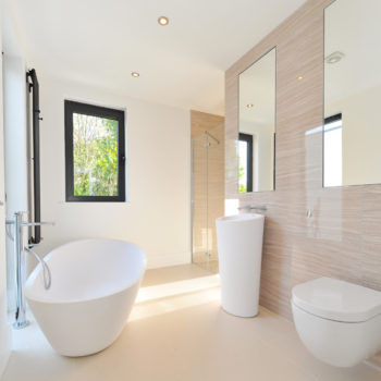 Family Bathroom with contemporary bathroom suite