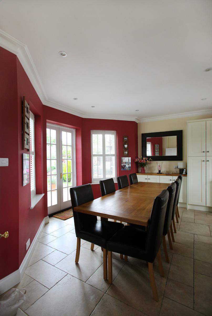 Dining area with doors to garden