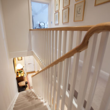 Staircase of remodelled mews house in Haygarth Place Wimbledon
