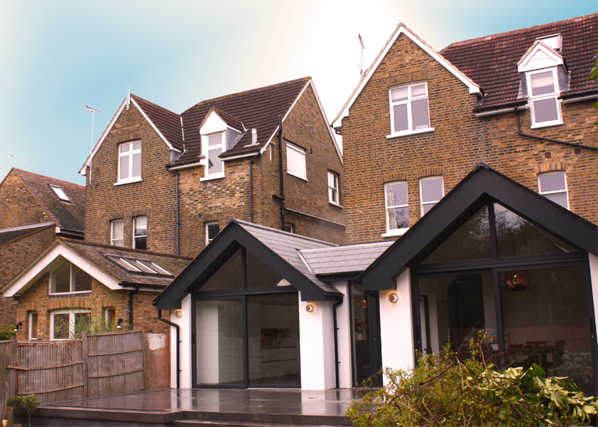 Exterior shot of a single-storey rear extension Designed by DNA Architects