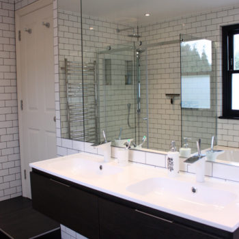 His & Hers Sinks in refurbished bathroom by DNA Architects